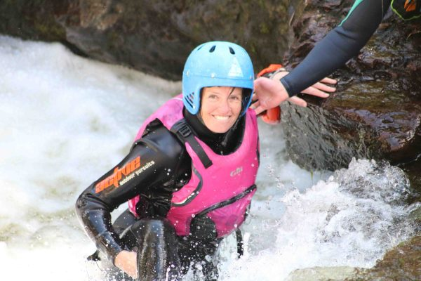 Canyoning in Scotland Happy rapid