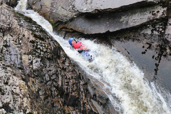 Canyoning in Scotland long flume