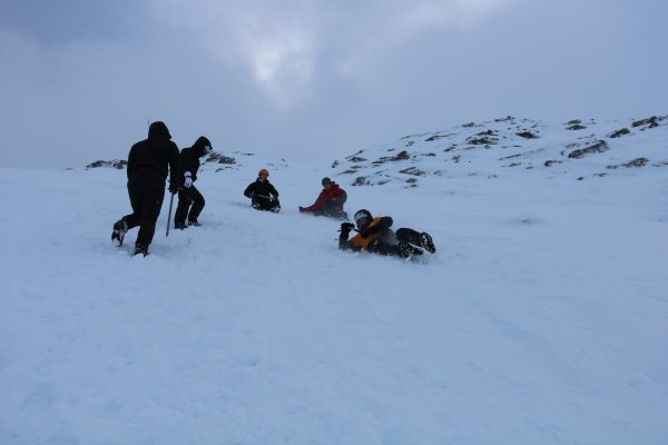 Winter skills ice axe arrest group