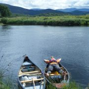 Taking a Break from Paddling, River Spey Descent