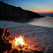 Sea kayak camp fire