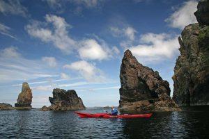 Sea kayaking through stacks