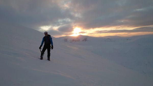 Winter skills sunset walking