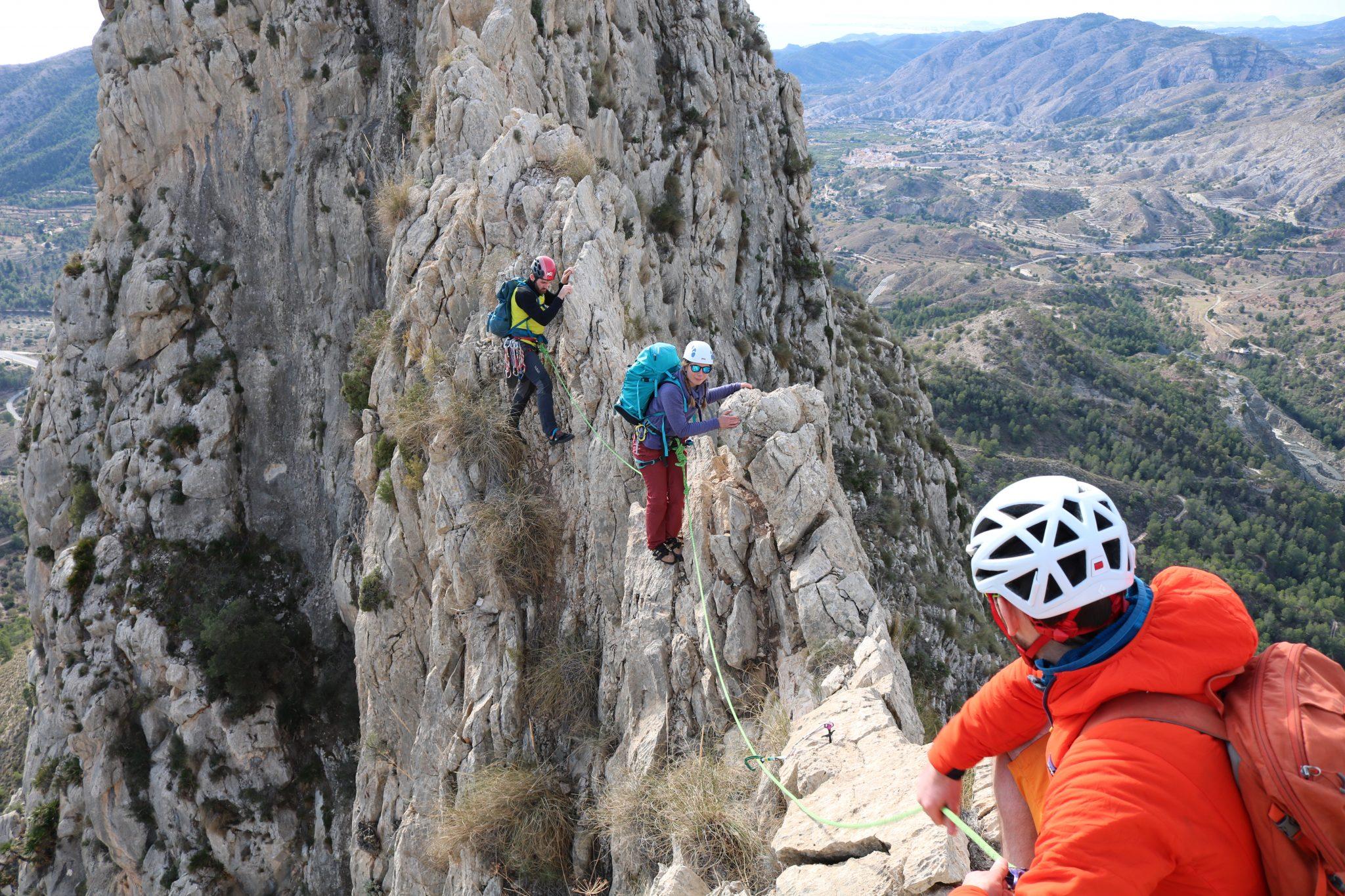 Outdoor instructor training climbing